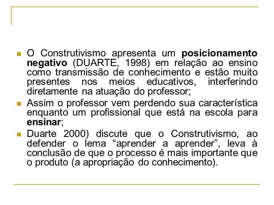 O Construtivismo apresenta um posicionamento negativo (DUARTE, 1998) em relação ao ensino como transmissão de conhecimento e estão muito presentes nos meios educativos, interferindo diretamente na atuação do professor;