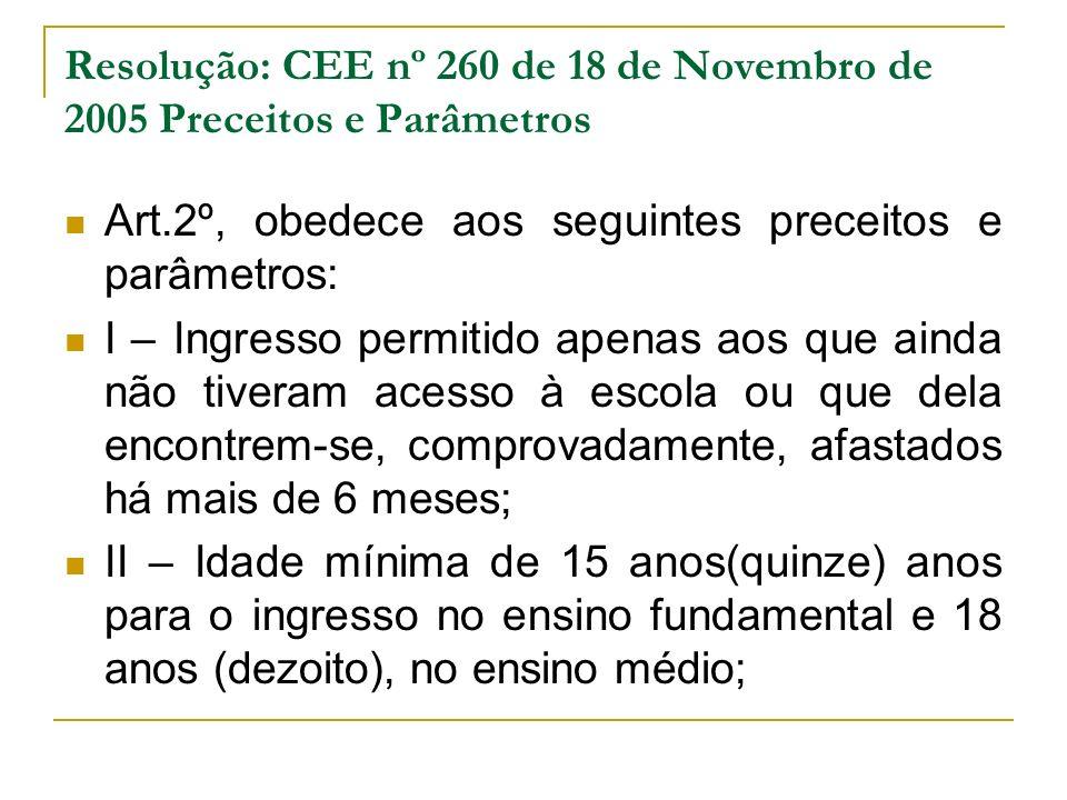 Resolução: CEE nº 260 de 18 de Novembro de 2005 Preceitos e Parâmetros