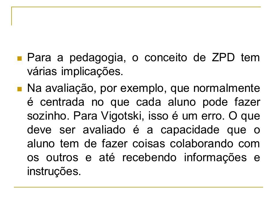 Para a pedagogia, o conceito de ZPD tem várias implicações.