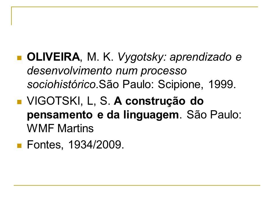 OLIVEIRA, M. K. Vygotsky: aprendizado e desenvolvimento num processo sociohistórico.São Paulo: Scipione, 1999.