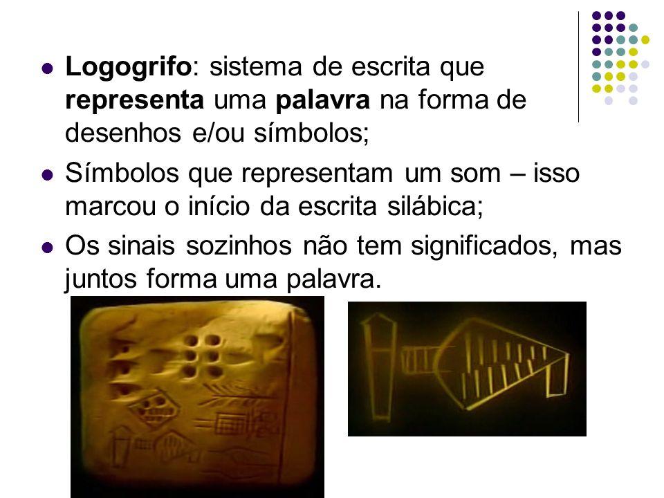 Logogrifo: sistema de escrita que representa uma palavra na forma de desenhos e/ou símbolos;