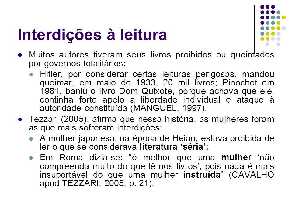 Interdições à leituraMuitos autores tiveram seus livros proibidos ou queimados por governos totalitários: