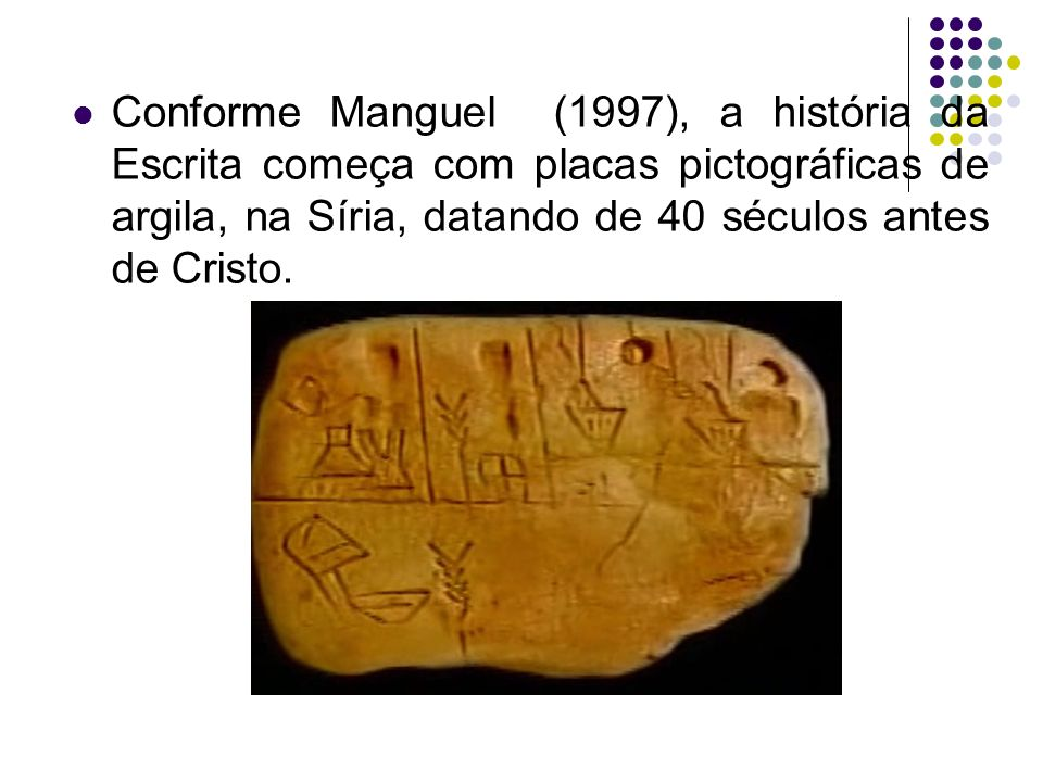 Conforme Manguel (1997), a história da Escrita começa com placas pictográficas de argila, na Síria, datando de 40 séculos antes de Cristo.