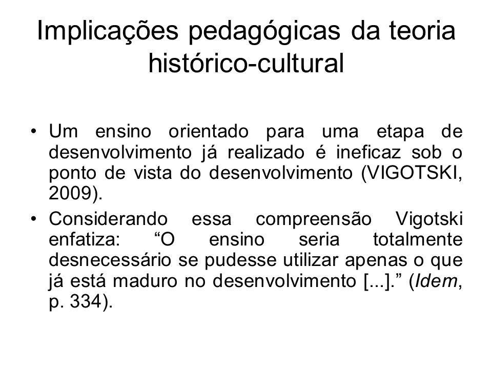 Implicações pedagógicas da teoria histórico-cultural