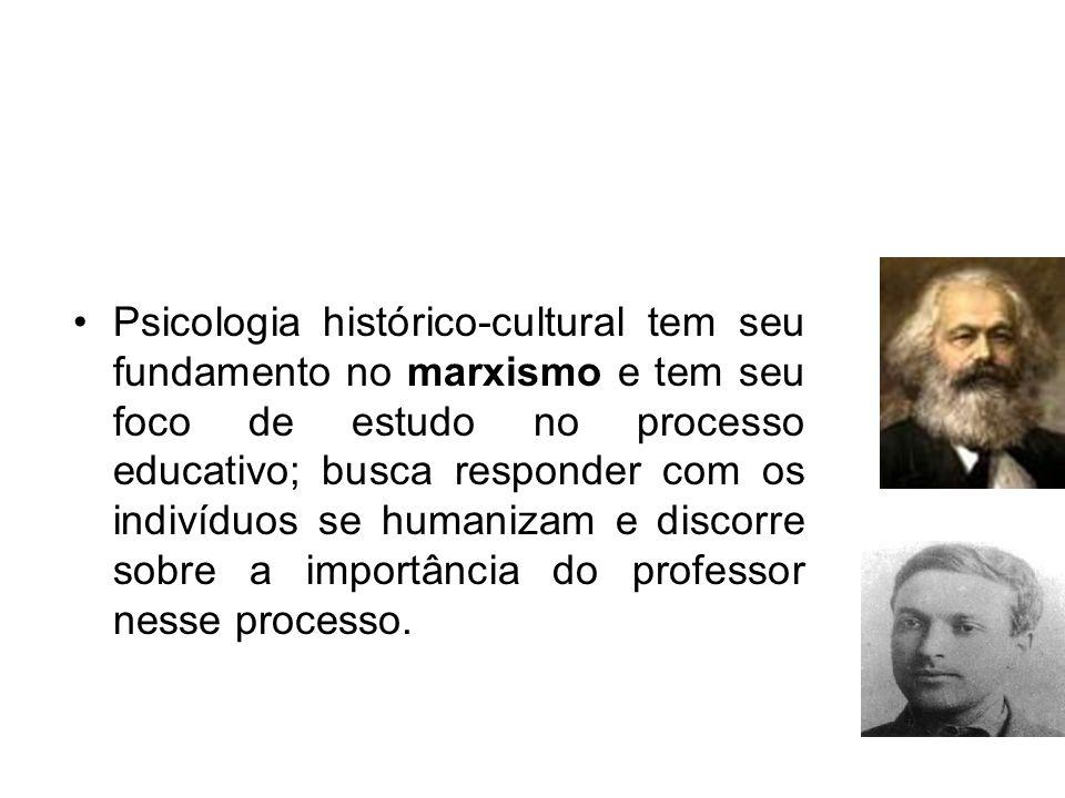 Psicologia histórico-cultural tem seu fundamento no marxismo e tem seu foco de estudo no processo educativo; busca responder com os indivíduos se humanizam e discorre sobre a importância do professor nesse processo.