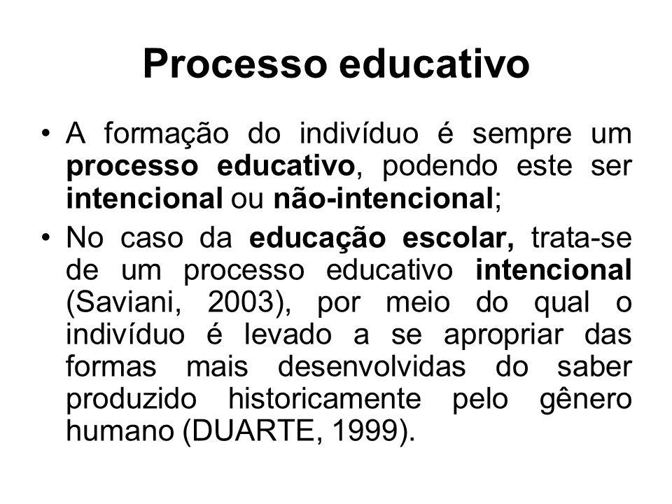 Processo educativo A formação do indivíduo é sempre um processo educativo, podendo este ser intencional ou não-intencional;