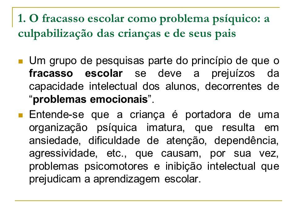 1. O fracasso escolar como problema psíquico: a culpabilização das crianças e de seus pais