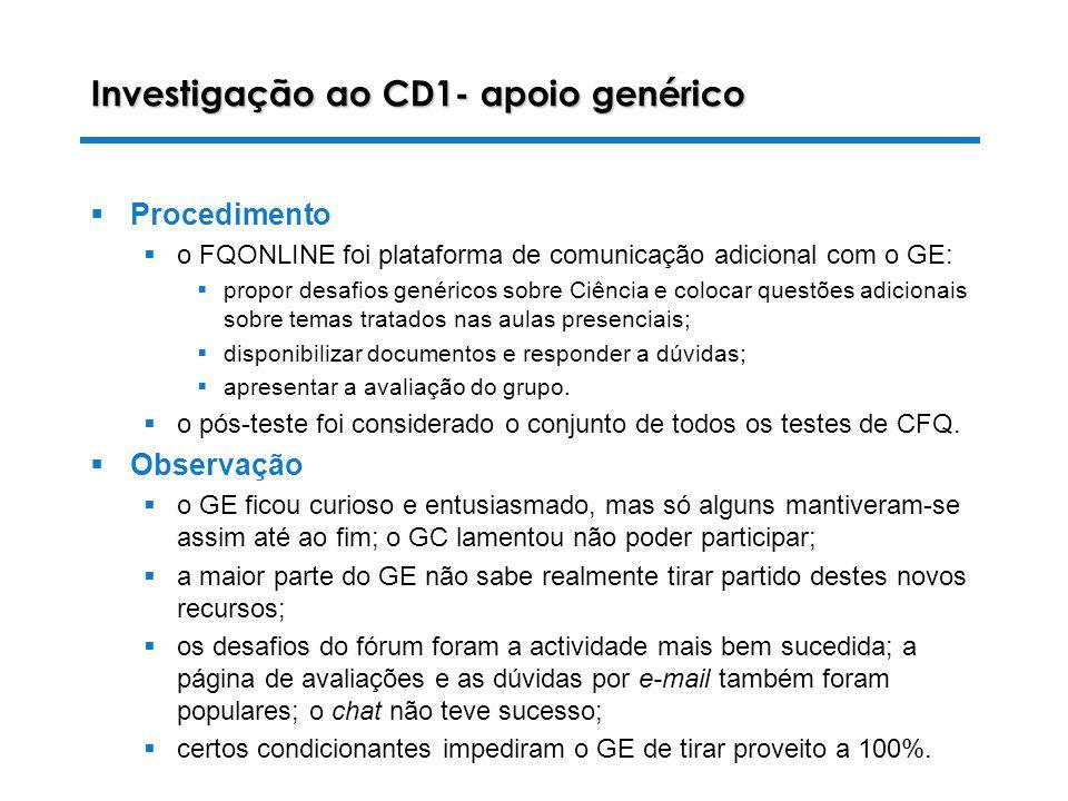 Investigação ao CD1- apoio genérico