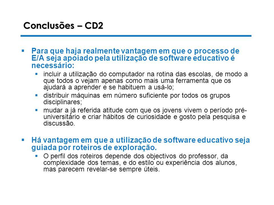 Conclusões – CD2 Para que haja realmente vantagem em que o processo de E/A seja apoiado pela utilização de software educativo é necessário: