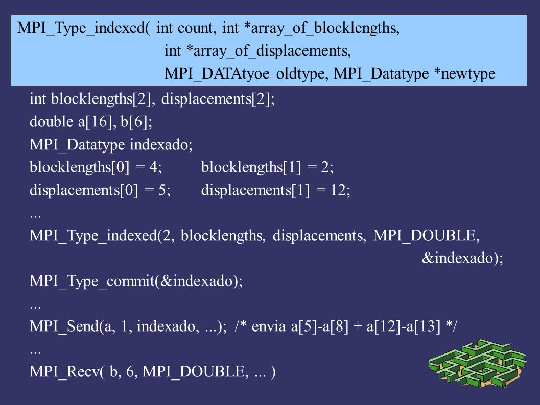 MPI_Type_indexed( int count, int *array_of_blocklengths,
