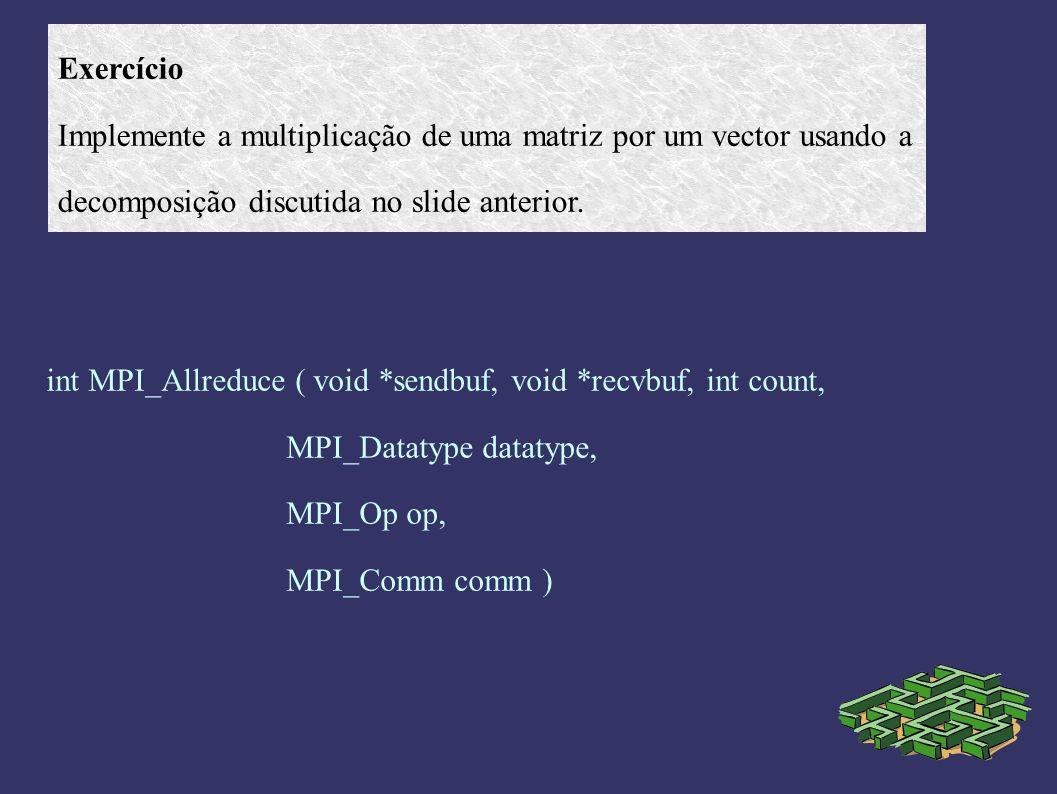 Exercício Implemente a multiplicação de uma matriz por um vector usando a. decomposição discutida no slide anterior.