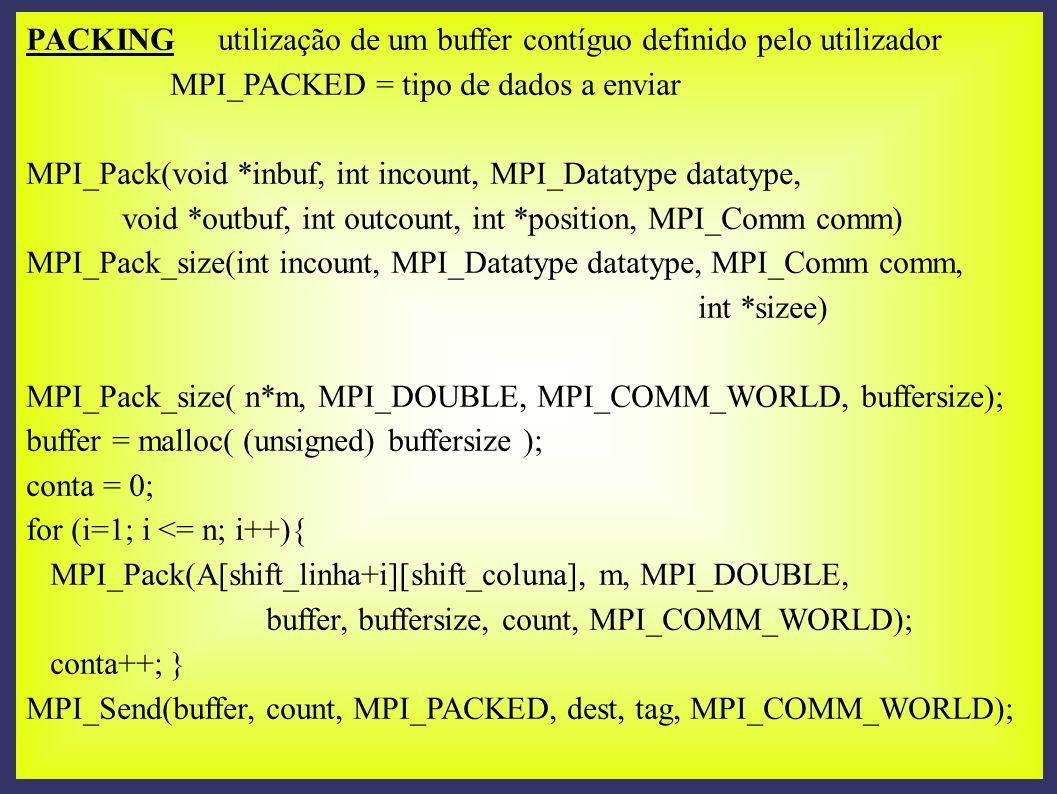 PACKING utilização de um buffer contíguo definido pelo utilizador