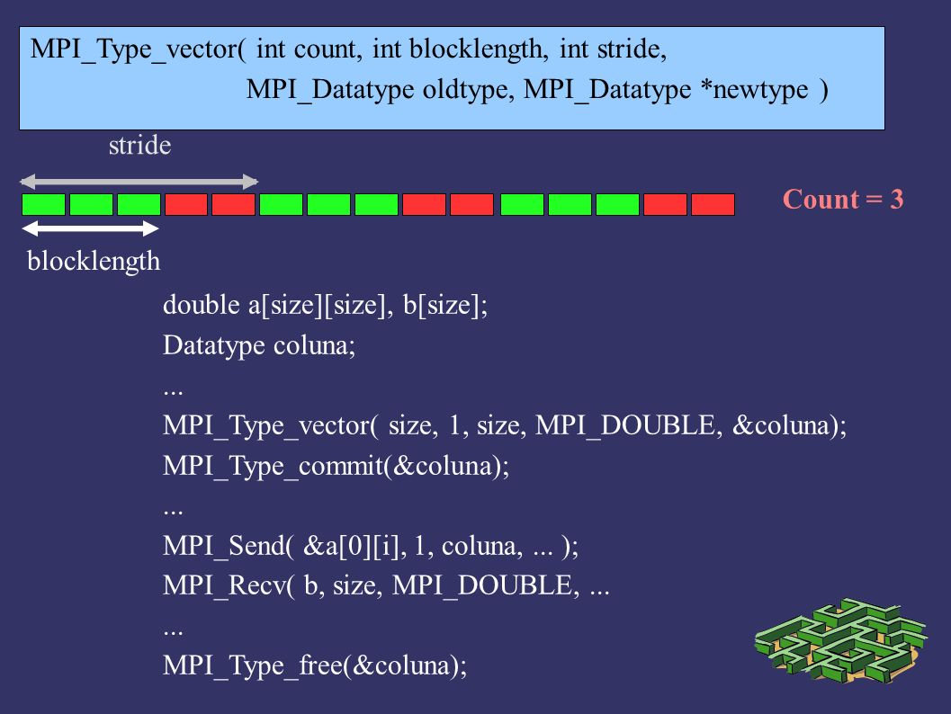 MPI_Type_vector( int count, int blocklength, int stride,