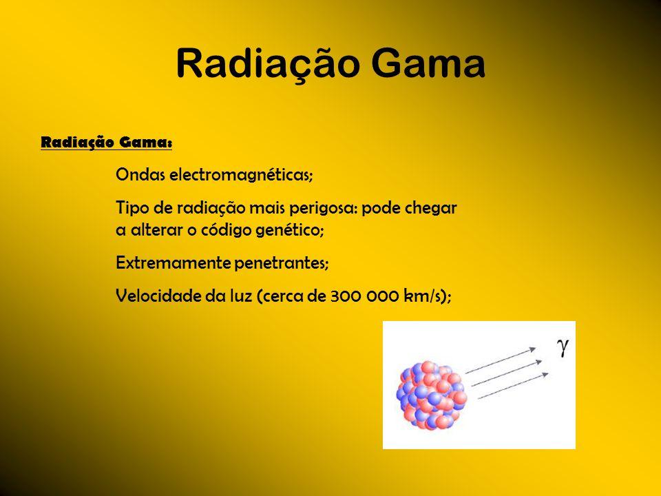 Radiação GamaRadiação Gama: Ondas electromagnéticas; Tipo de radiação mais perigosa: pode chegar a alterar o código genético;