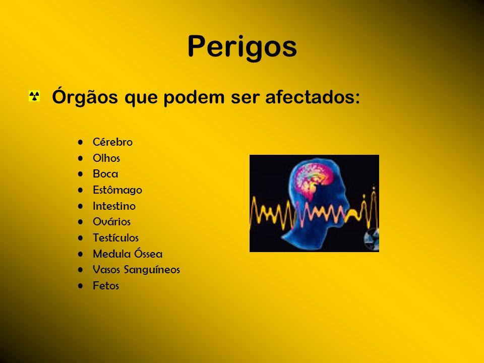 Perigos Órgãos que podem ser afectados: Cérebro Olhos Boca Estômago