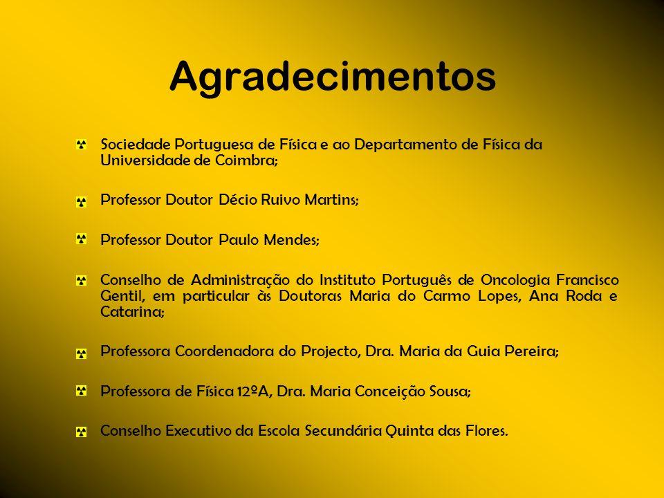 Agradecimentos Sociedade Portuguesa de Física e ao Departamento de Física da Universidade de Coimbra;