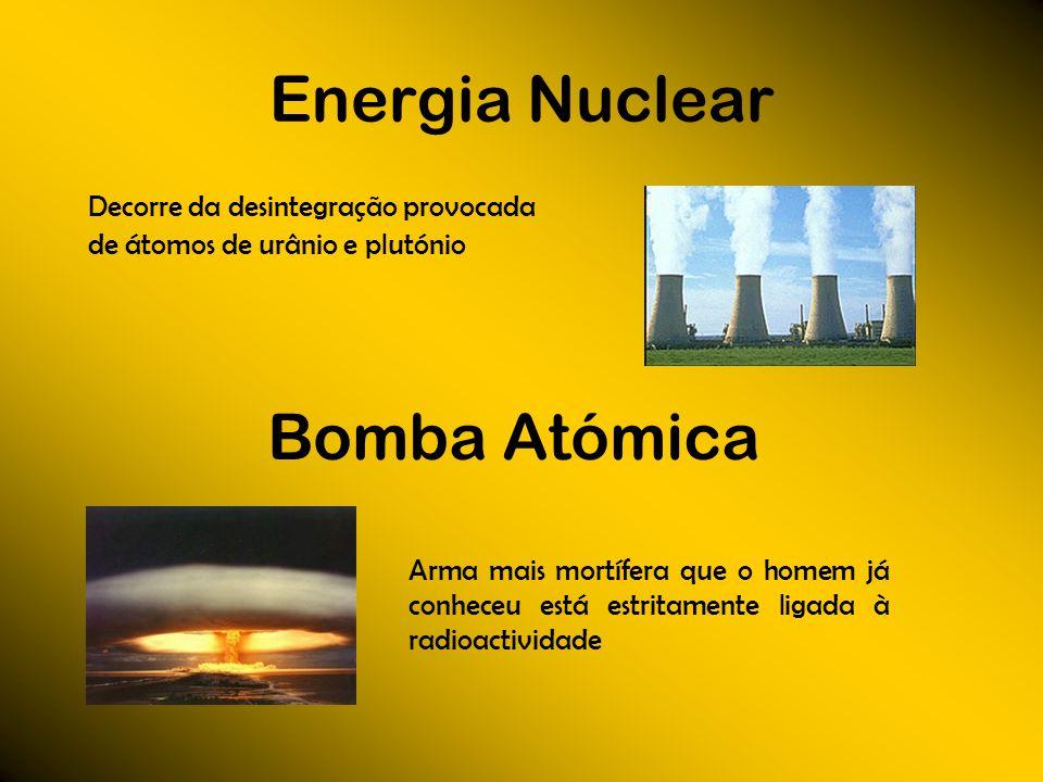 Energia Nuclear Bomba Atómica Decorre da desintegração provocada