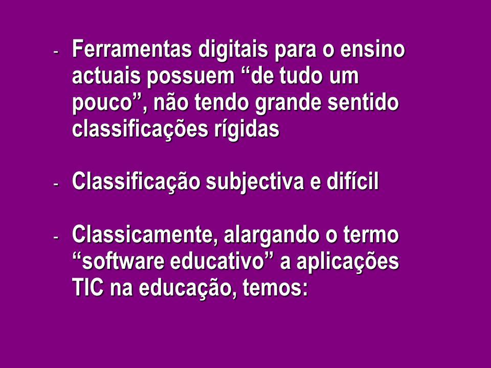 Ferramentas digitais para o ensino actuais possuem de tudo um pouco , não tendo grande sentido classificações rígidas
