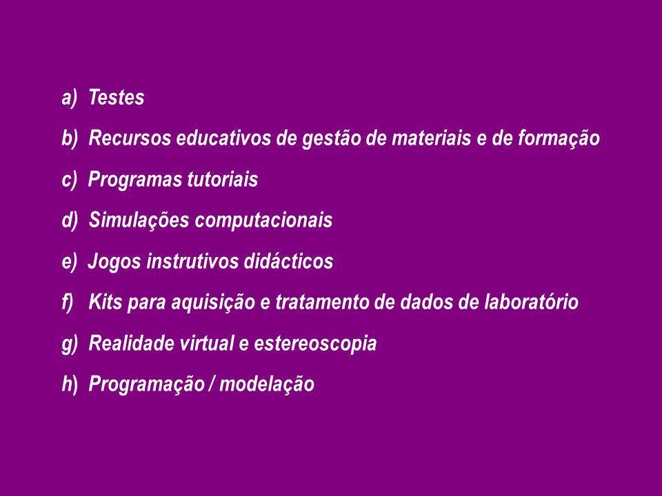a) Testes b) Recursos educativos de gestão de materiais e de formação. c) Programas tutoriais. d) Simulações computacionais.