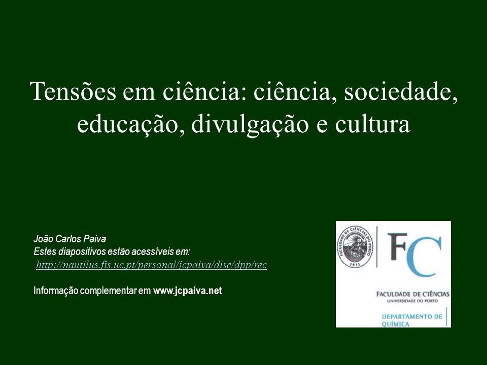 Tensões em ciência: ciência, sociedade, educação, divulgação e cultura