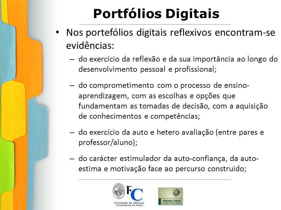 Nos portefólios digitais reflexivos encontram-se evidências: