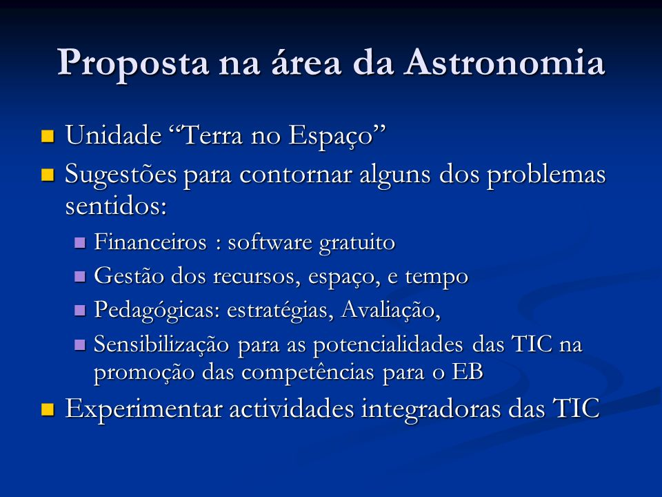 Proposta na área da Astronomia