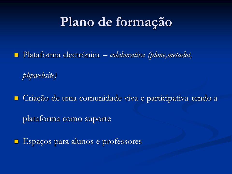 Plano de formaçãoPlataforma electrónica – colaborativa (plone,metadot, phpwebsite)