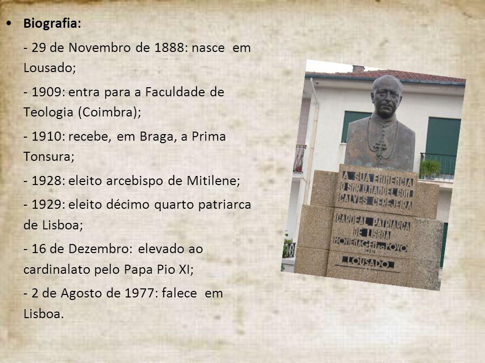 Biografia: - 29 de Novembro de 1888: nasce em Lousado; - 1909: entra para a Faculdade de Teologia (Coimbra);