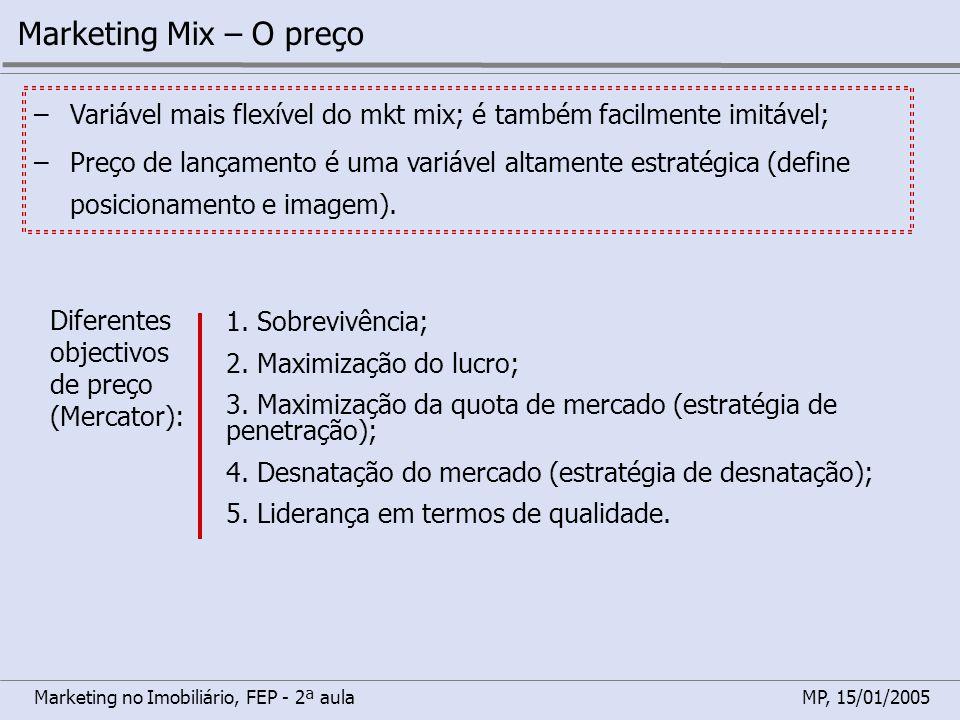 Marketing Mix – O preço Variável mais flexível do mkt mix; é também facilmente imitável;