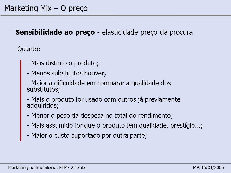 Marketing Mix – O preço Sensibilidade ao preço - elasticidade preço da procura. Quanto: - Mais distinto o produto;