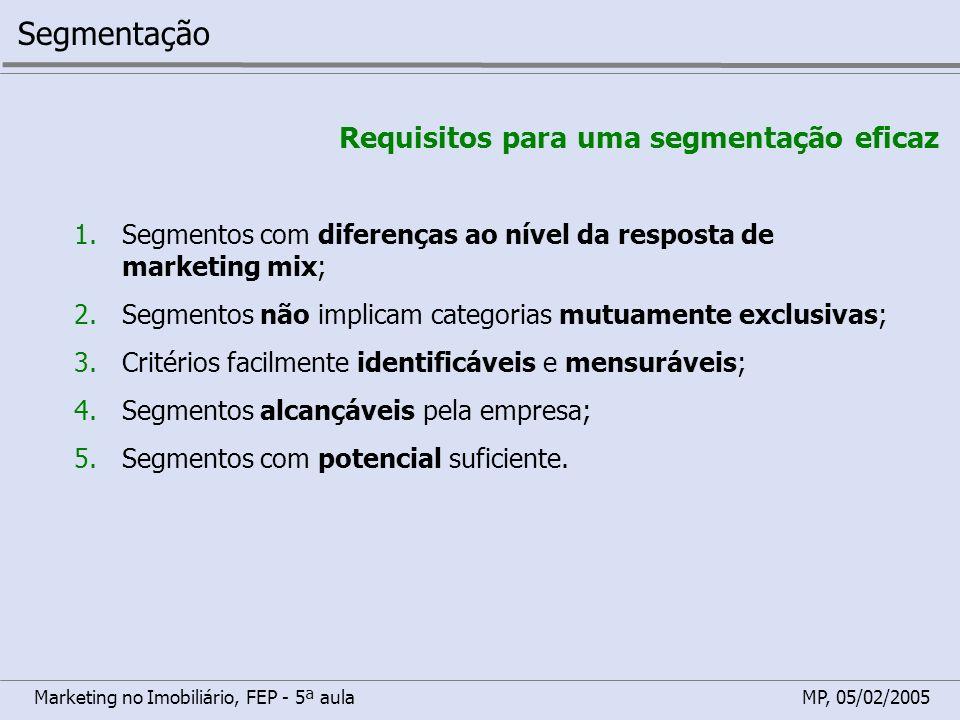 Segmentação Requisitos para uma segmentação eficaz