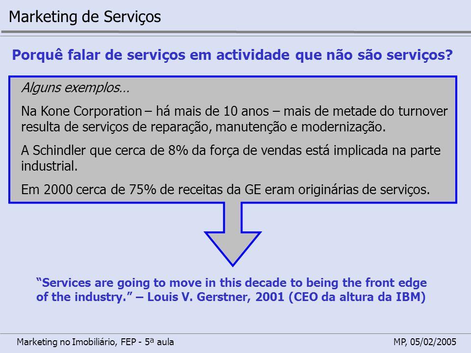 Marketing de Serviços Porquê falar de serviços em actividade que não são serviços Alguns exemplos…