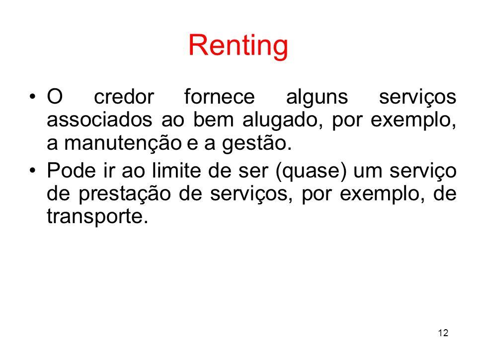 Renting O credor fornece alguns serviços associados ao bem alugado, por exemplo, a manutenção e a gestão.
