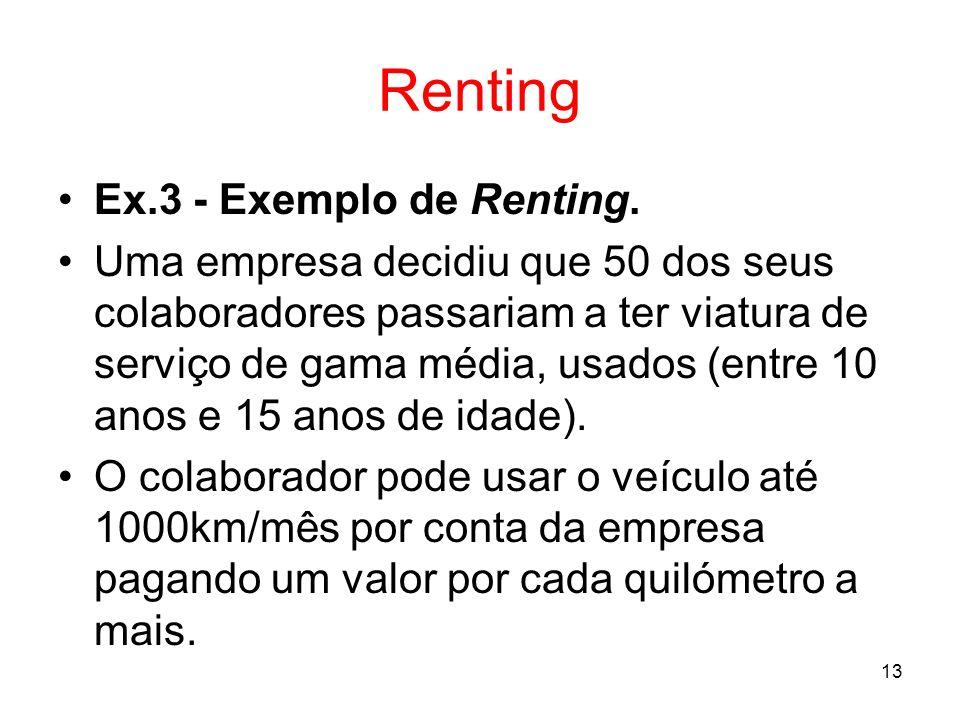 Renting Ex.3 - Exemplo de Renting.