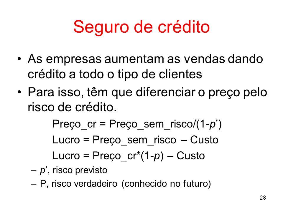 Seguro de créditoAs empresas aumentam as vendas dando crédito a todo o tipo de clientes.