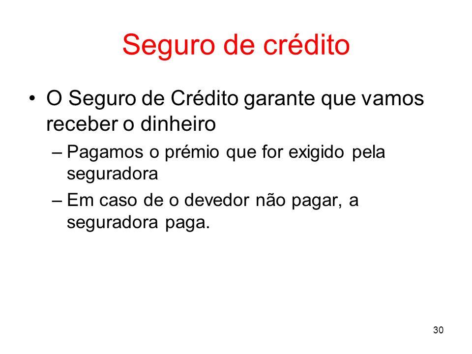 Seguro de créditoO Seguro de Crédito garante que vamos receber o dinheiro. Pagamos o prémio que for exigido pela seguradora.