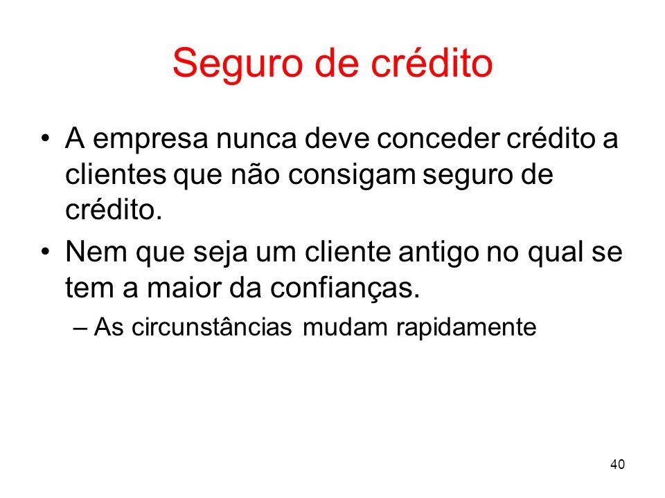 Seguro de créditoA empresa nunca deve conceder crédito a clientes que não consigam seguro de crédito.