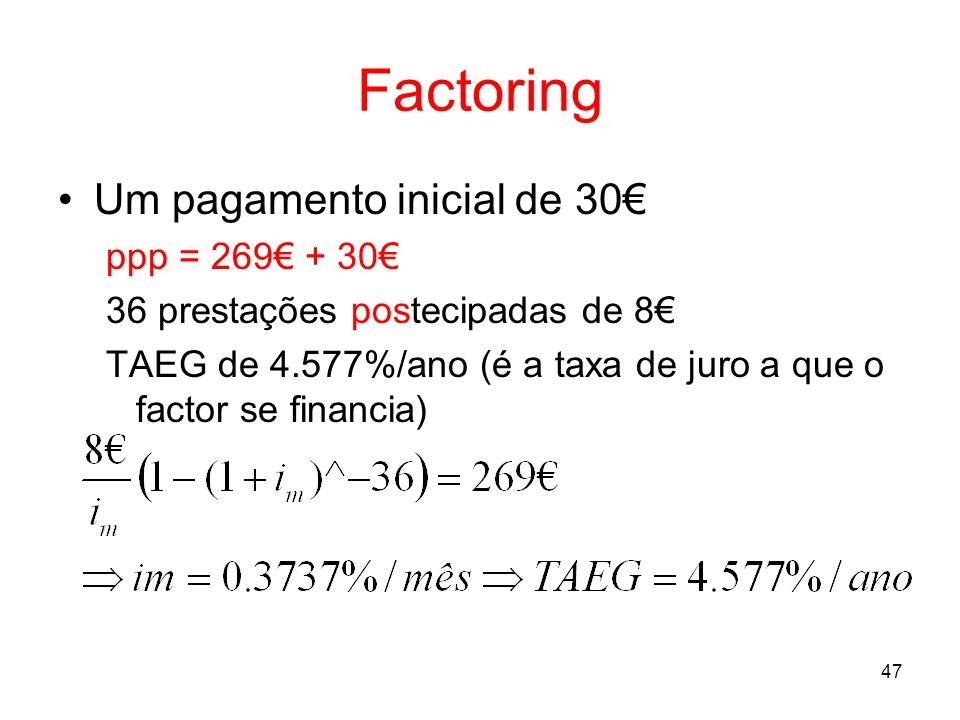Factoring Um pagamento inicial de 30€ ppp = 269€ + 30€