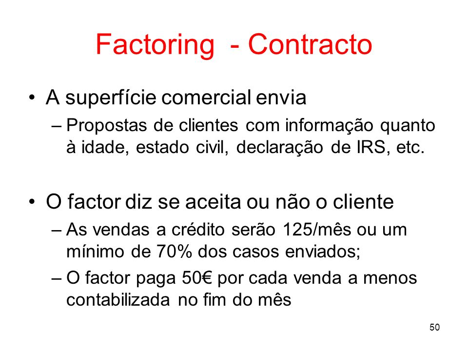 Factoring - Contracto A superfície comercial envia