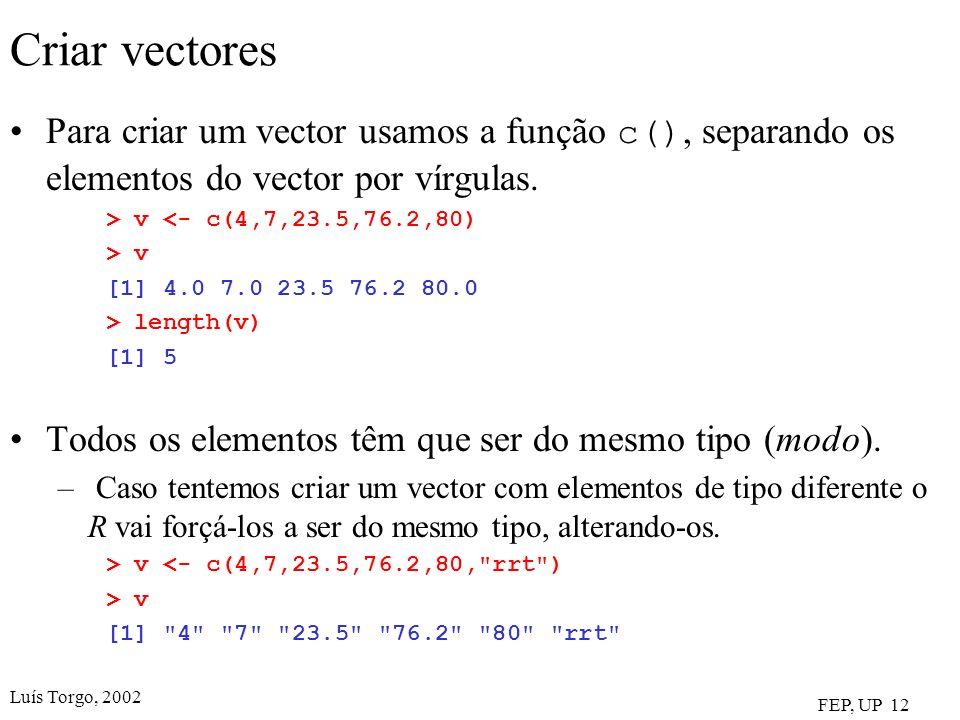 Criar vectores Para criar um vector usamos a função c(), separando os elementos do vector por vírgulas.