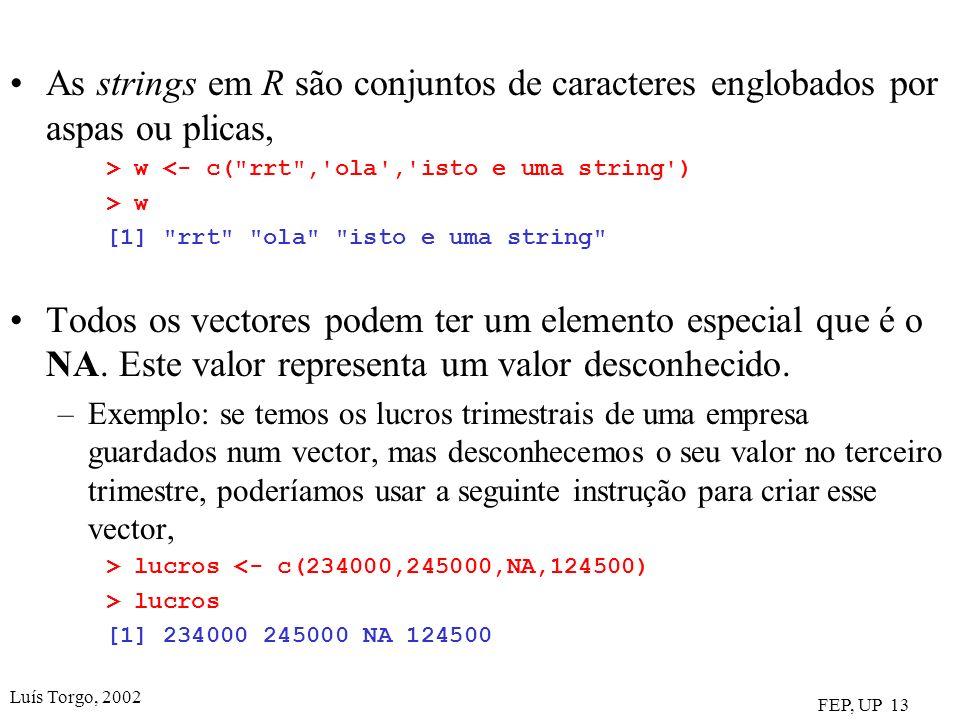 As strings em R são conjuntos de caracteres englobados por aspas ou plicas,
