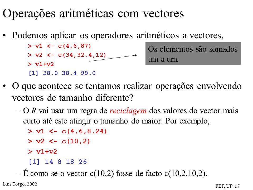 Operações aritméticas com vectores