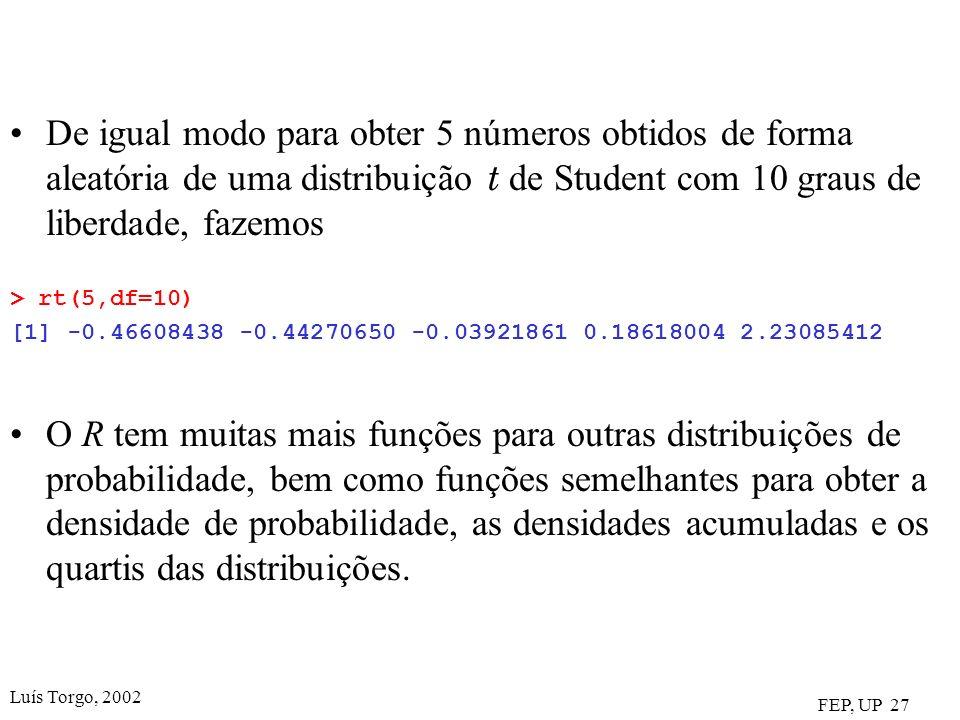 De igual modo para obter 5 números obtidos de forma aleatória de uma distribuição t de Student com 10 graus de liberdade, fazemos