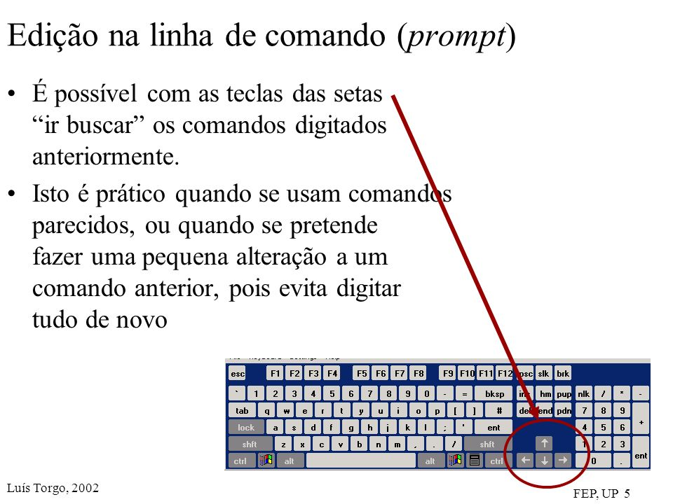 Edição na linha de comando (prompt)