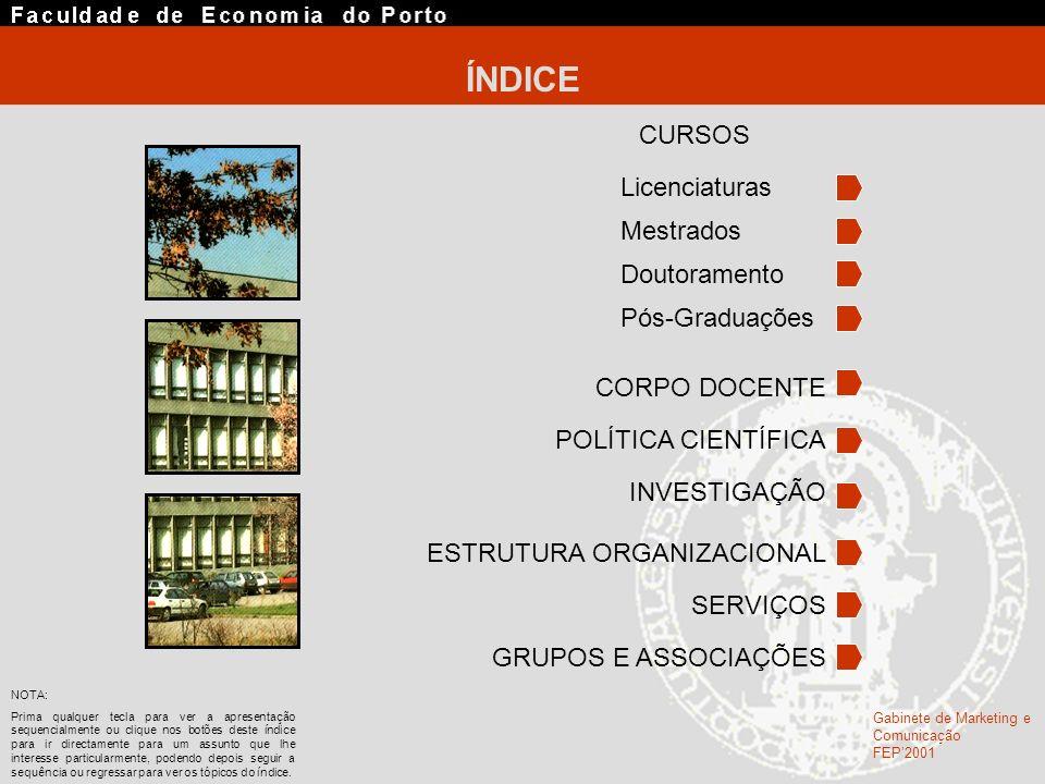 ÍNDICE CURSOS Licenciaturas Mestrados Doutoramento Pós-Graduações