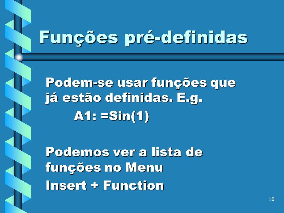 Funções pré-definidas