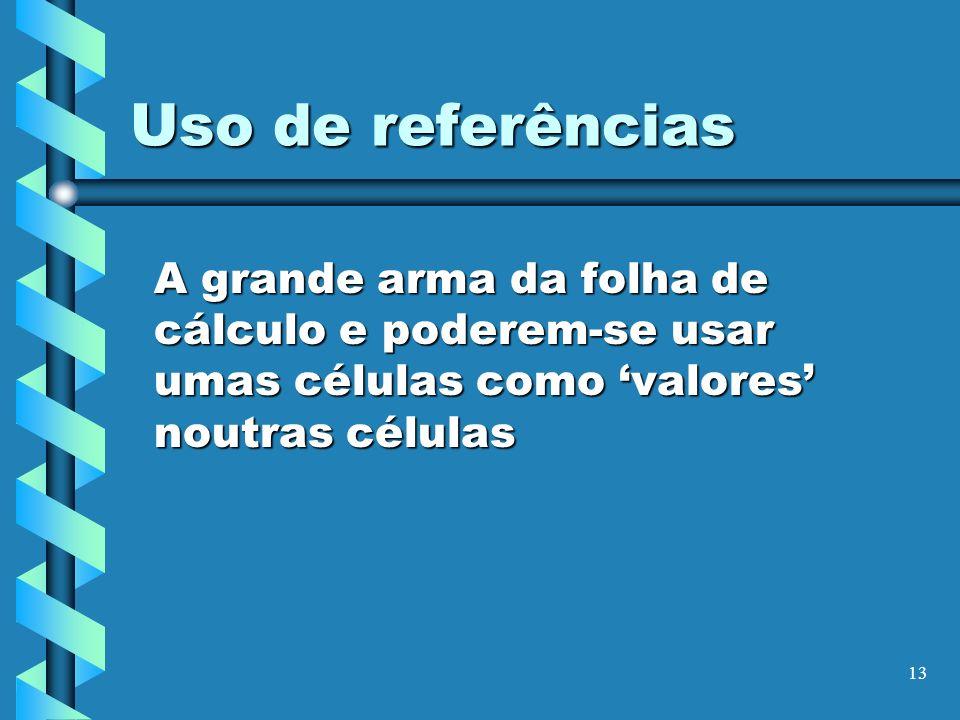 Uso de referências A grande arma da folha de cálculo e poderem-se usar umas células como 'valores' noutras células.