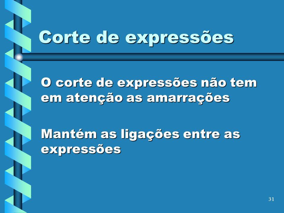 Corte de expressões O corte de expressões não tem em atenção as amarrações.