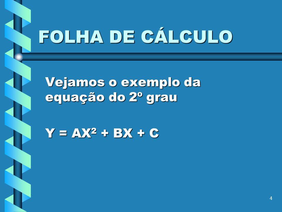 Vejamos o exemplo da equação do 2º grau Y = AX2 + BX + C