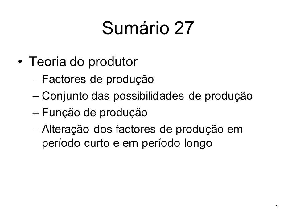 Sumário 27 Teoria do produtor Factores de produção